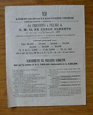 ANTICO DOCUMENTO ESTRAZIONE DEL 1 DICEMBRE 1862 PRESTITO A PREMI CARLO ALBERTO
