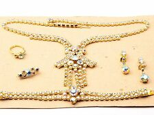 Vintage Czech gold plate AB rhinestone necklace bracelet ring brooch earring set