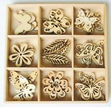 45-pc SPRING Butterfly Mini Laser Cut Wood Shapes 9 Styles Mixed Media 2015-01