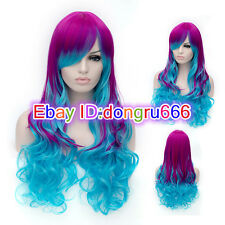 Multi-Color Mixed Rainbow Lolita Big Wavy Curly Long Anime Cosplay+wig cap