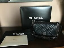 AUTHENTIC CHANEL LAMBSKIN BLACK BOY OLD MEDIUM BAG