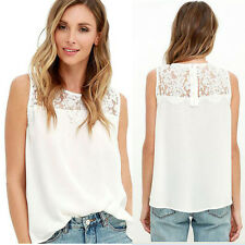 Summer Women Sleeveless Blouse Lace Vest Top Tank Tops Loose Splice Shirt LOT