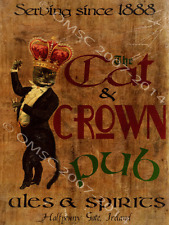 The Cat and Crown Metal Sign, Vintage 19th Century Irish Pub, Retro Bar Den Deco