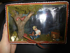 Mixed media art camping hillbilly man and dog in the woods cigar box art vintage