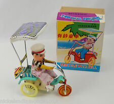 Red China Clockwork MS 710 Tricycle with Bell Tin Litho PVC Head MIB Wind up Toy