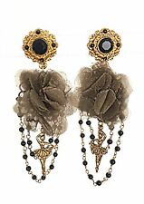 DOLCE & GABBANA $445 gold black clip on ballerina earrings silk flower inserts