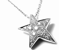 Authentic! Chanel Comete 18k White Gold Diamond Star Pendant Necklace Box Paper