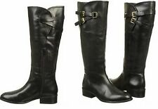 RALPH LAUREN Maren Black Leather Belted Buckle Equestrian Riding Boots Shoes 11
