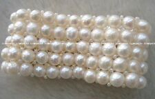 5rows freshwater pearl  white round 7-8mm bracelet wholesale nature amazing gift