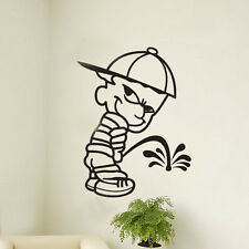 Naughty Little Boy Pee Removable Wall Commode Sticker Vinyl Art Decal Home Decor