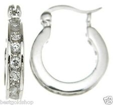 "1/2"" Small Diamonique CZ Hoop Earrings Anti-Tarnish Real 925 Sterling Silver"