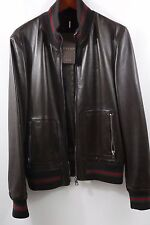 $3,400 Gucci BrownLeather Red Green Stripe Jacket Size 40  100% Authentic