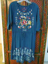 Johnny Was cotton peacock embroidered 3/4 sleeve drawstring waist dress S