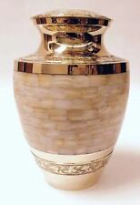 GORGEOUS ADULT SOLID BRASS MOTHER OF PEARL CREMATION URNS, NEW CREMATION URN