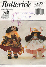 1990's VTG Butterick Annie Apple Cheeks Stuffed Doll&Clothes Pattern 3108 19""