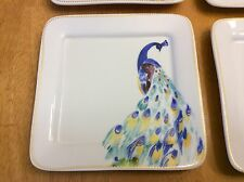Ciroa Square Dessert, Appetizer Plates. Beautiful Peacock. Porcelain. New.