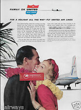 UNITED AIR LINES 1959 HAWAII BY DOUGLAS DC-7 MAINLINERS  HOLIDAY ALL THE WAY AD