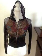 Nicki Minaj black fishnet floral print underneath zip up hoodie size XS.