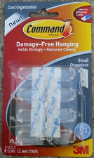 8 Small Command Cord Clips With Adhesive by 3M 17302CLR Free Ship