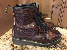 VTG Authentic Rare DOC Dr. MARTENS Brown Crocodile Print Boots UK 7 US 9