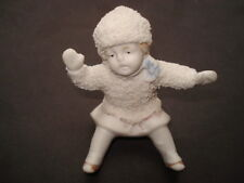 SCARCE CWW1 VINTAGE BISQUE CHINA SNOW COVERED GIRL CHRISTMAS CAKE DECORATION
