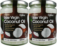 2 Organic Aceite De Coco Virgen Natural - 2 Botes = 1000 ml - Optima