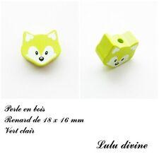 Perle en bois de 18 x 16 mm, Perle plate petite Tête de renard : Vert clair