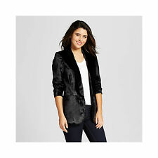 "NWT Xhilaration Womens ""Mystic Heritage"" Black Velvet Lined Blazer Jr XL"