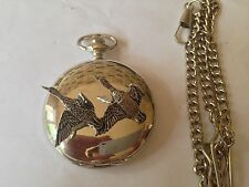 B38 New pair of Ducks polished silver case mens GIFT quartz pocket watch fob