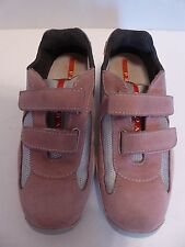 Women's PRADA Pink Suede Silver Nylon Velcro Casual Sneakers Size 5.5 US