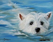 MARY SPARROW westie  West Highland White Terrier Dog Print Beach Swimming puppy