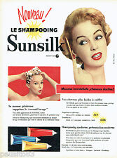 PUBLICITE ADVERTISING 016  1957  Sunsilk  shampoing mousse