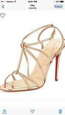 Ahutentic Cristian Louboutin Youpiyou Glittered Red Sole Sandal Size 38.1/2