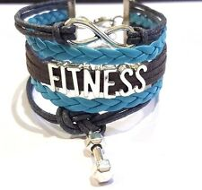 GYM Rope Braided Infinity Love FITNESS Bracelet w Weight charm grey & baby blue