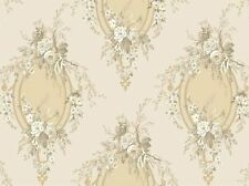 York Wallcoverings Designer Floral Cameo Tan Taupe Cream Textured Wallpaper Diy
