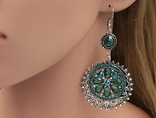 sparkly Boho Chic zircon blue crystal round dangle old silver plate earrings B42