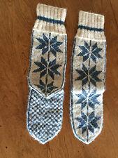 Traditional Norwegian  Patterned  Stockings  Sox  Blue/White Folk Art