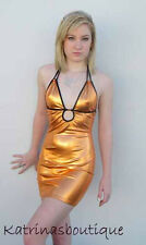 Copper Metal Keyhole Halter Club/Party Dress/Stripper/Made in the USA