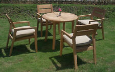 "5 PC DINING TEAK SET GARDEN OUTDOOR PATIO FURNITURE CELLORE STACKING 36"" TABLE"