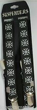 Brand New Men Womens Silver Clip White Cross Black Elastic Punk Suspenders