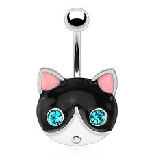 Surgical Steel Belly Piercing Bar With Black Cat Face And Emerald Gemmed Eyes