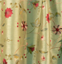 Drapery Upholstery Fabric Embroidered Floral Faux Silk Shantung - Sage