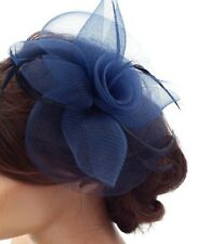 Navy Looped Net Fascinator with centre Swirl flower on Hair Clip and brooch pin