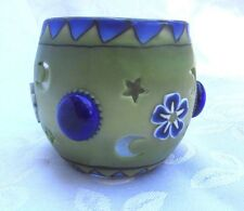 NEW FIMO Polymer Clay Covered Glass Globe Votive Candle Holder Green Blue Glass