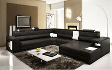 5022 Polaris Black Contemporary Bonded Leather Sectional Sofa With Free Shipping