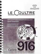 Jaeger Lecoultre Repair Manual for Vintage 916 Auto Wrist Alarm For Auction