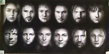 """Game of Thrones Characters Awesome ART CHARCOAL DRAWING 20X40"""" ORIGINAL"""