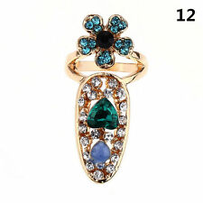 Fashion Women Bowknot Nail Ring Charm Crown Flower Crystal Finger Nail Rings