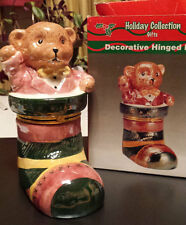 TEDDY BEAR IN A STOCKING - DECORATIVE HINGED BOX