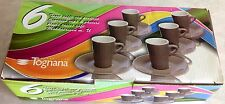 NEW Tognana Porcelain Set of 6 Espresso Cups & Saucers Elegant Made In Italy